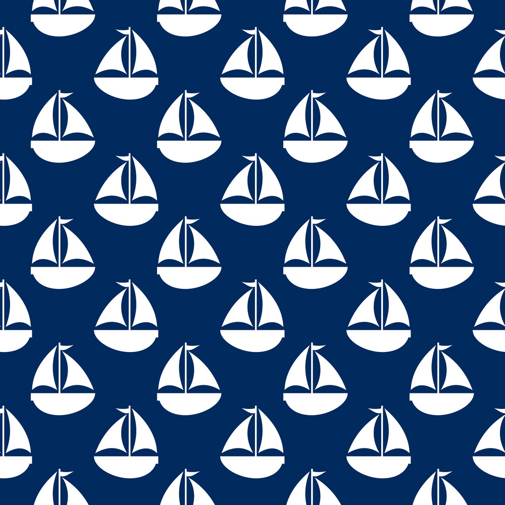 Blue And White Nautical Sailboat Pattern