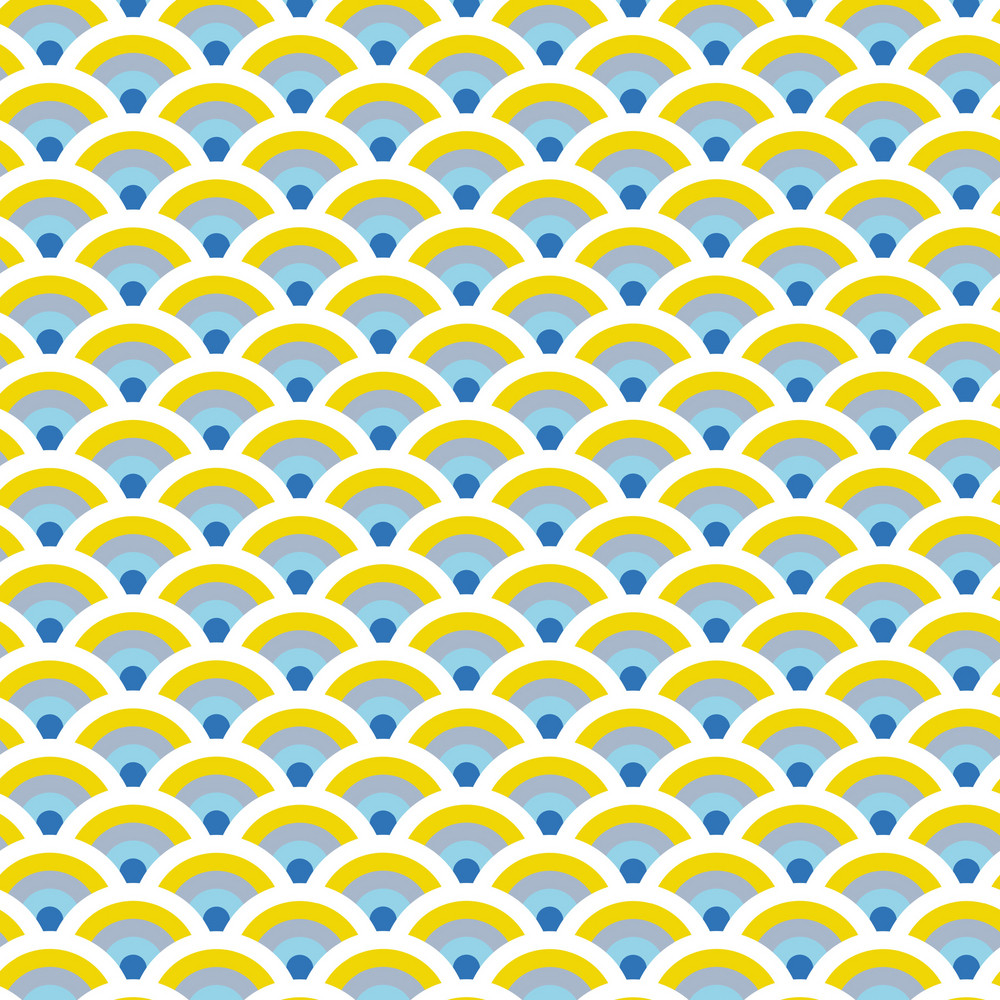 Blue And Yellow Fans Pattern