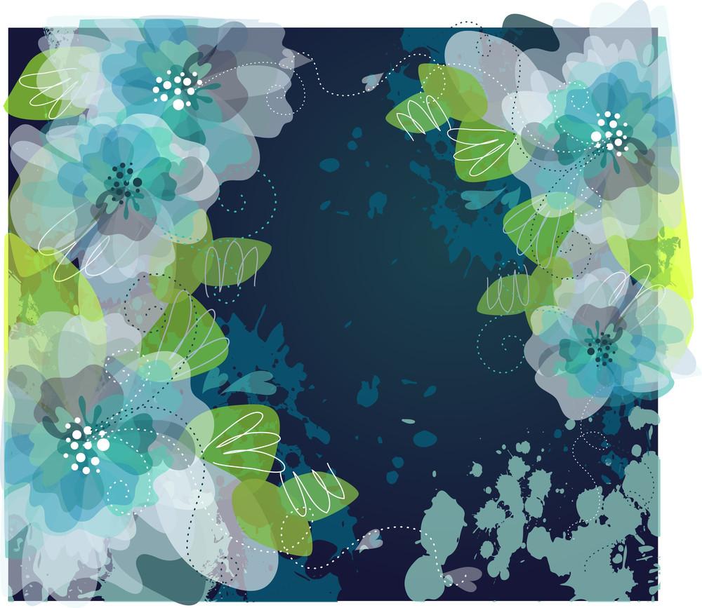 Blue Artistic Flower Background