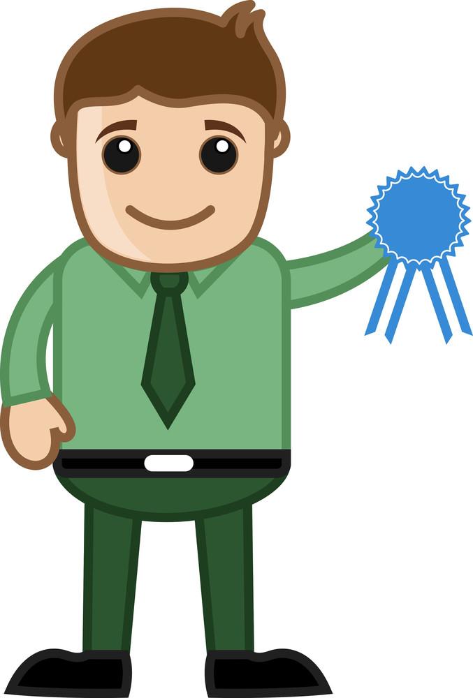 Blue Badge - Cartoon Office Vector Illustration