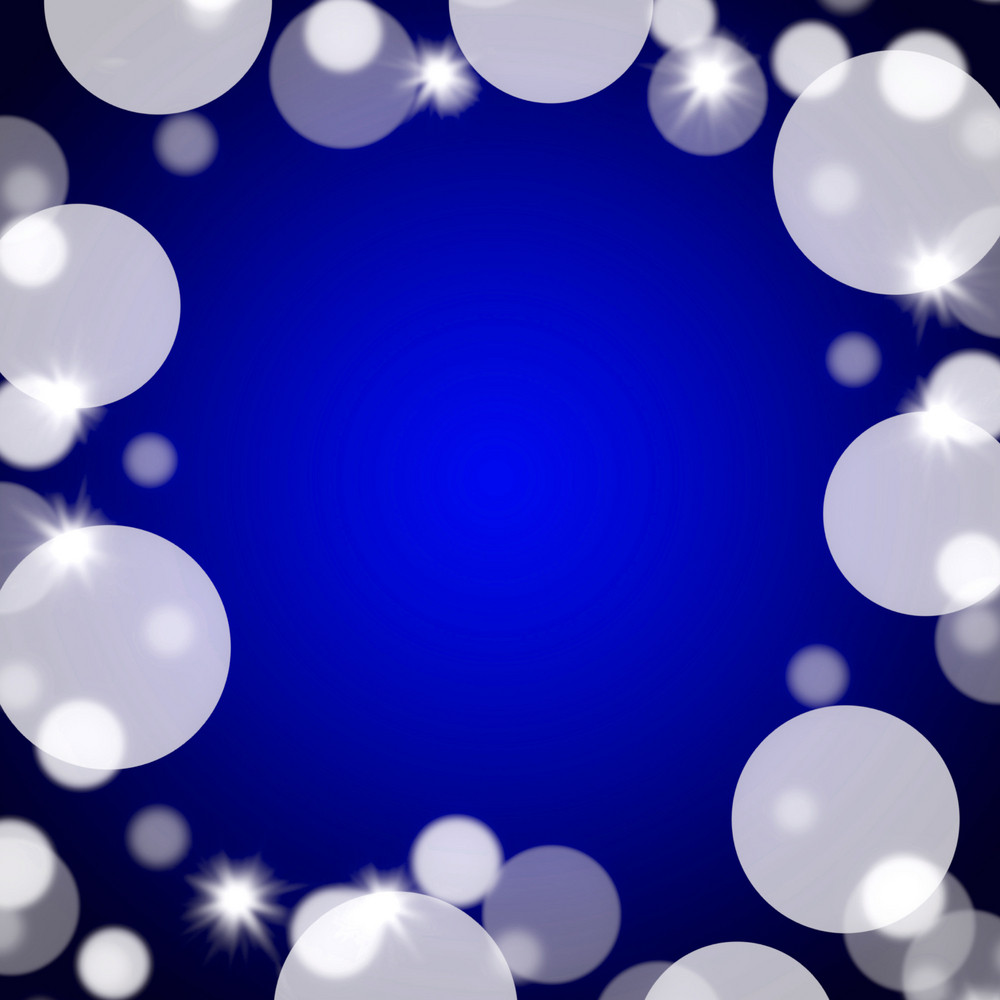 Blue Bokeh Background With Blank Copy Space And Full Border