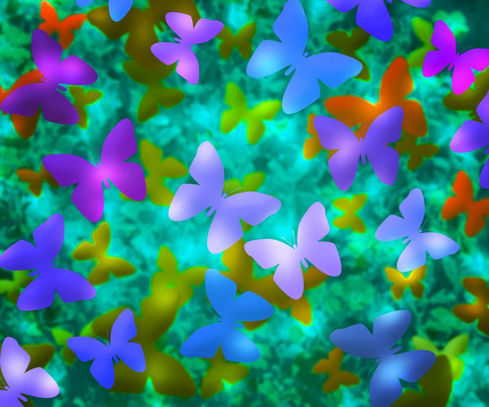 Blue Butterflies Abstract Background