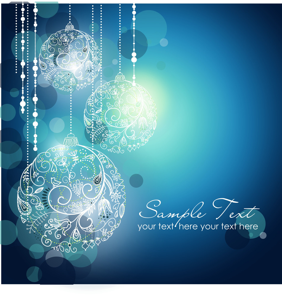 Blue Christmas Background With Christmas Ornaments