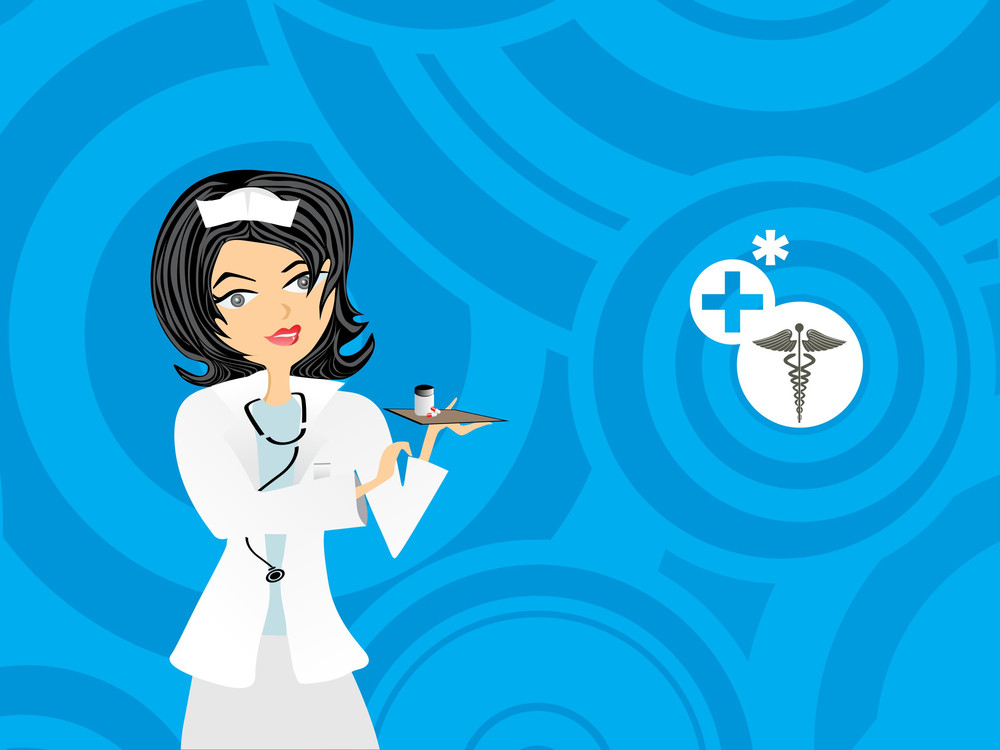 Blue Circle Background With Nurse