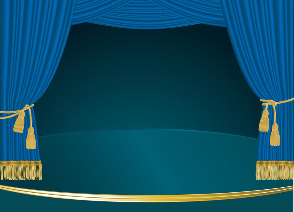 Blue Curtain. Vector.