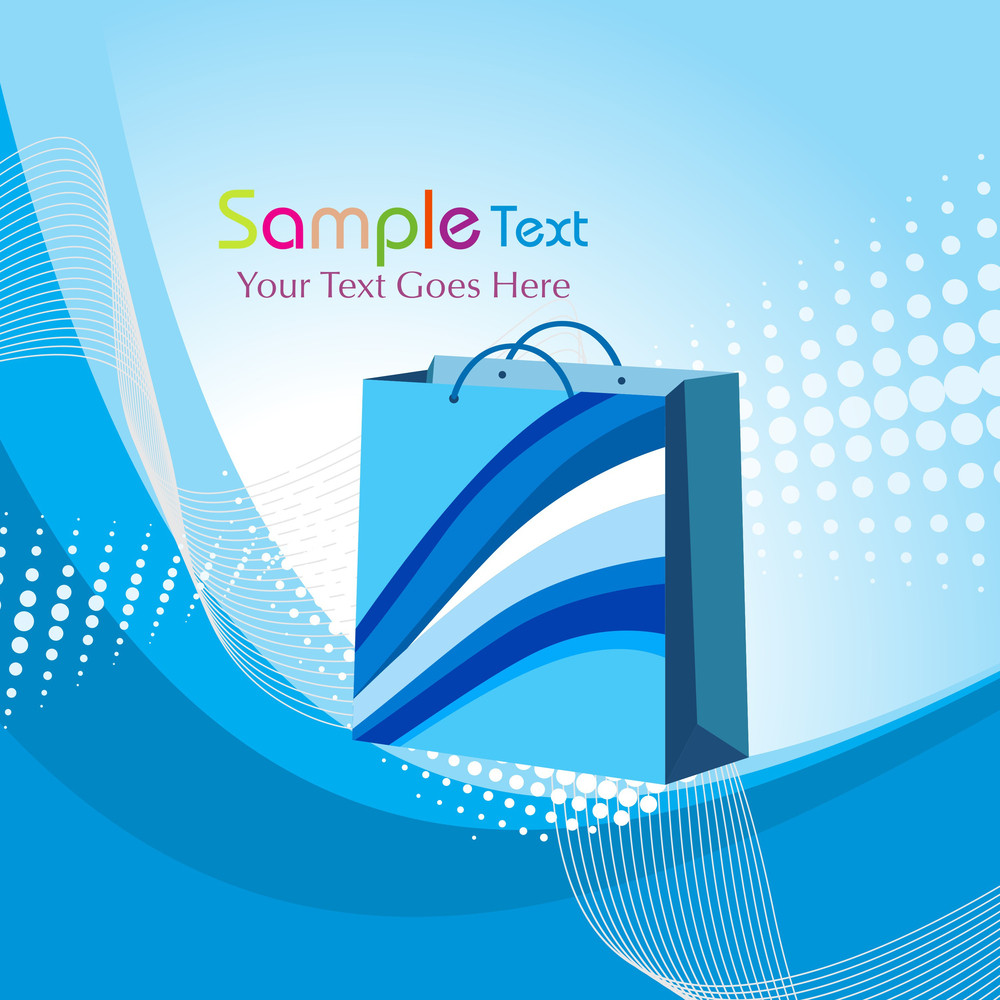 Blue Dotted Background With Shopping Bag