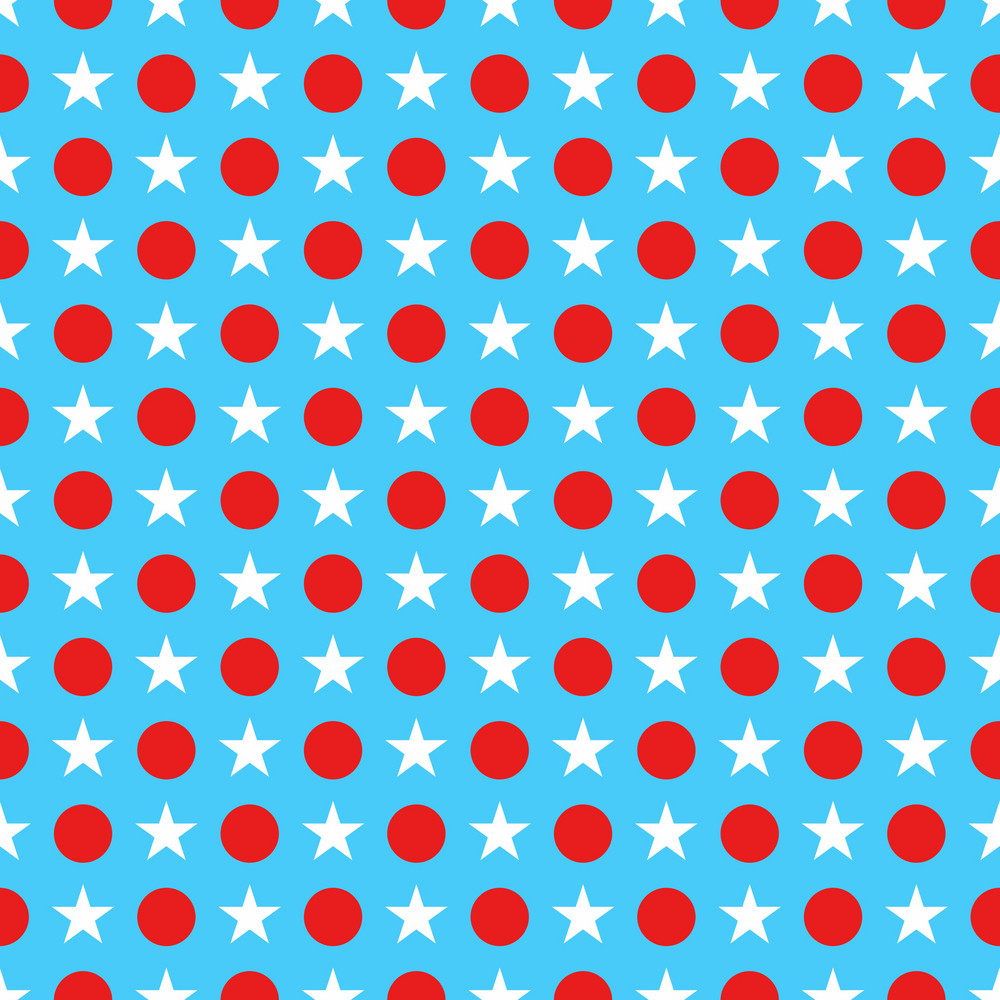 Blue Dr. Seuss Paper With A Red And White Star And Polka Dot Pattern