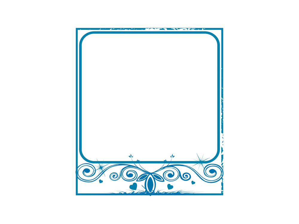 Blue Floral Frame In Love Theme