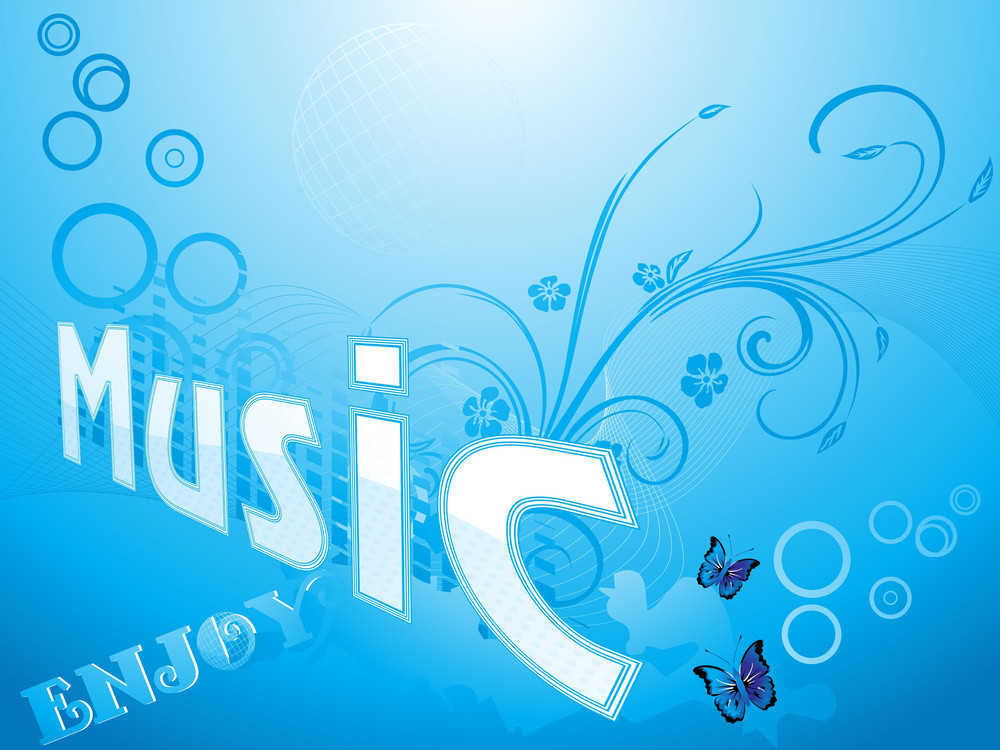 Blue Floral Pattern Musical Background