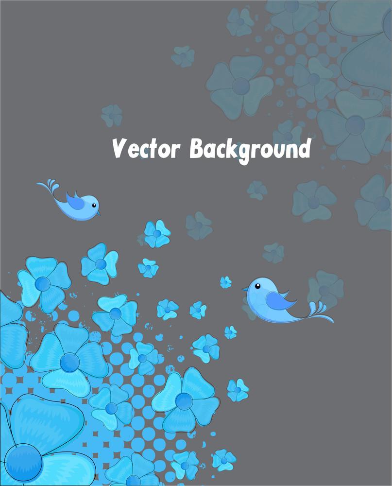 Blue Flowers Bird Background