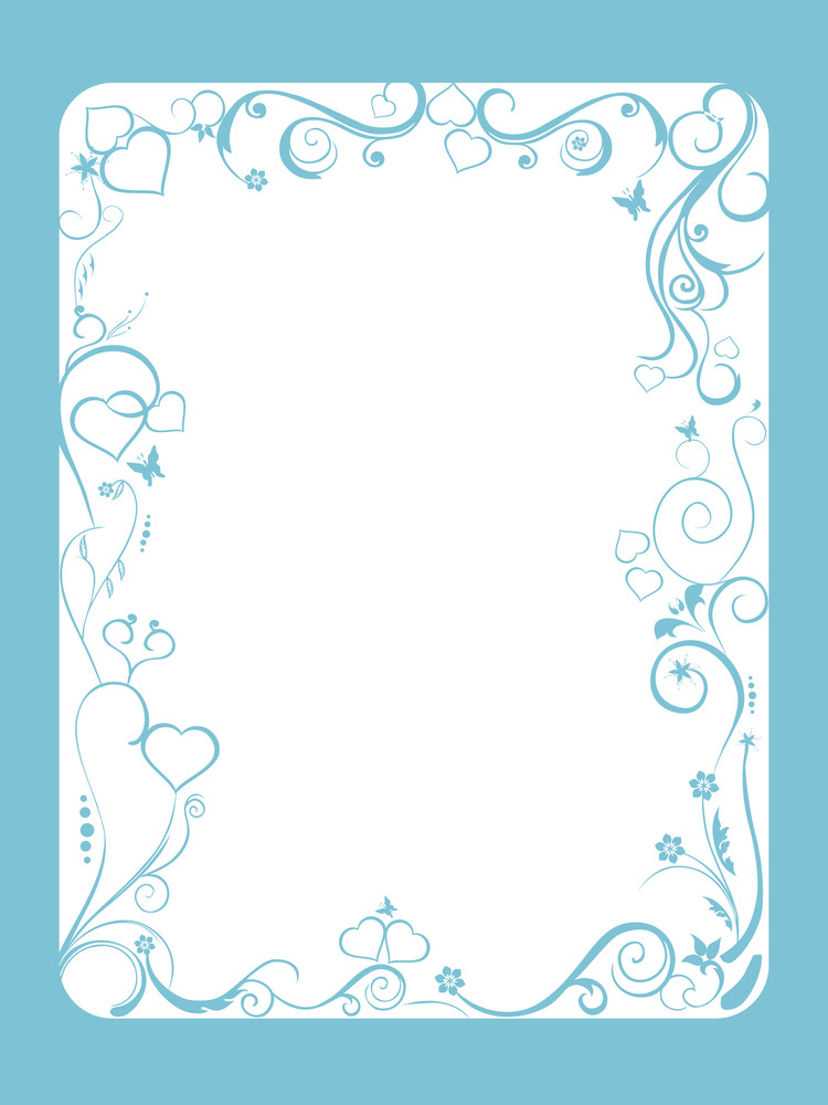 Blue Frame With Floral And Hearts On White Background