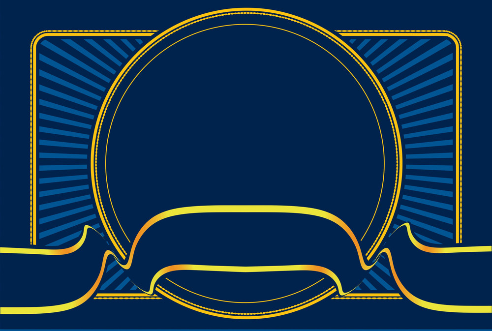 Blue Frame With Ribbon. Vector Illustration