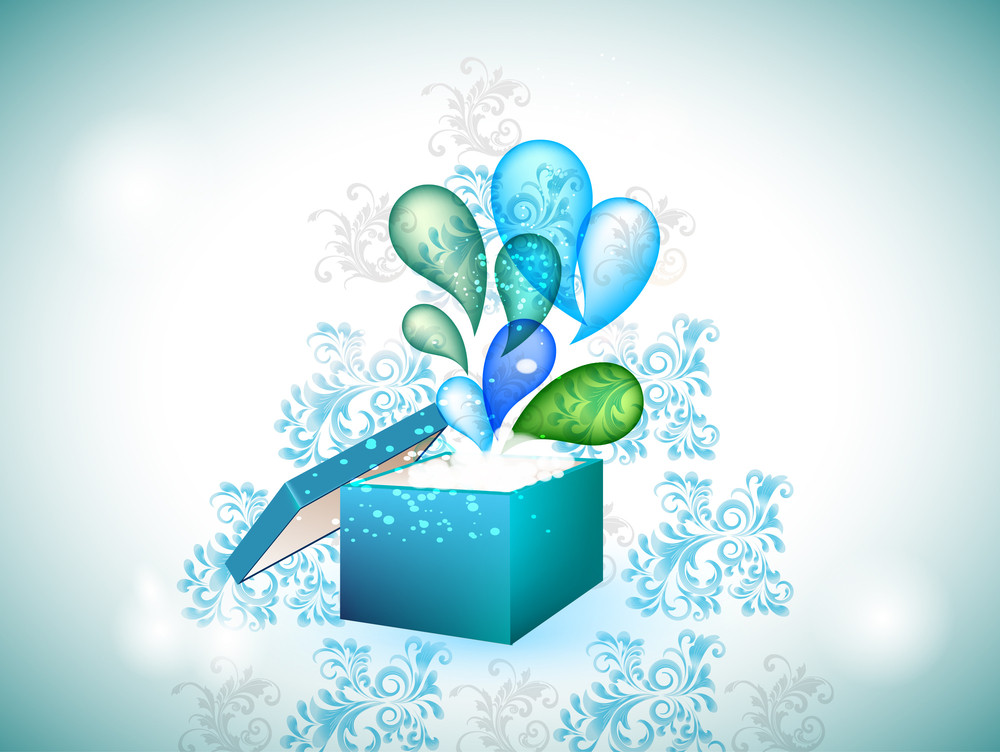 Blue Gift Box With Exploding Swirls.