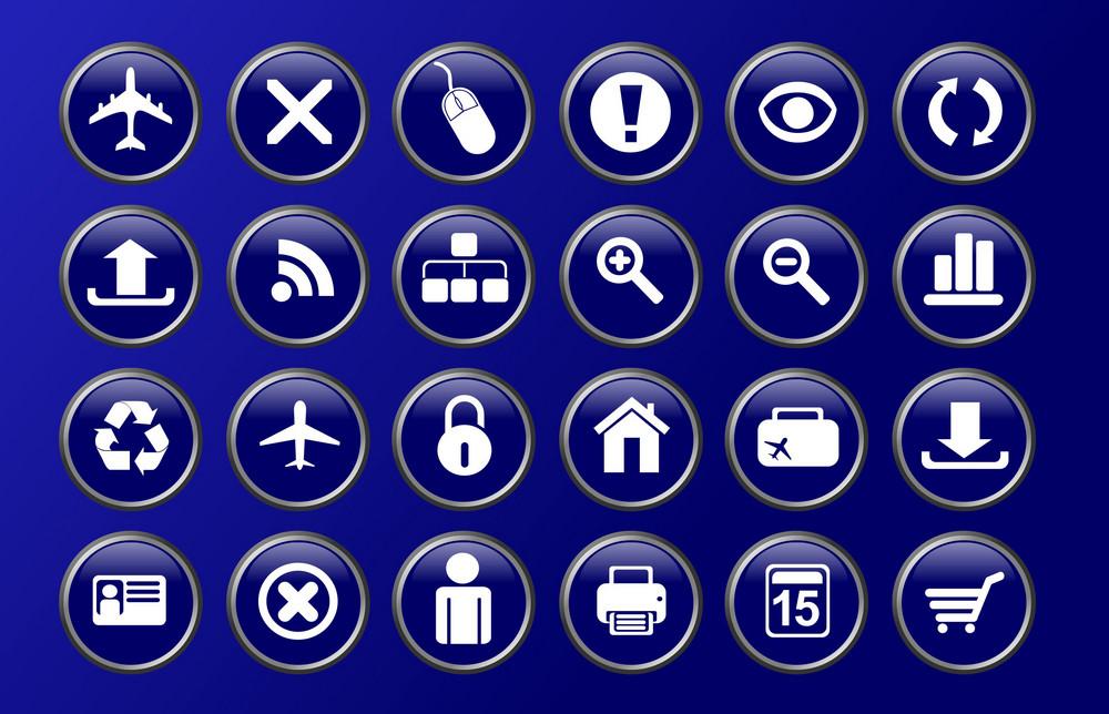 Blue Glassy Icons