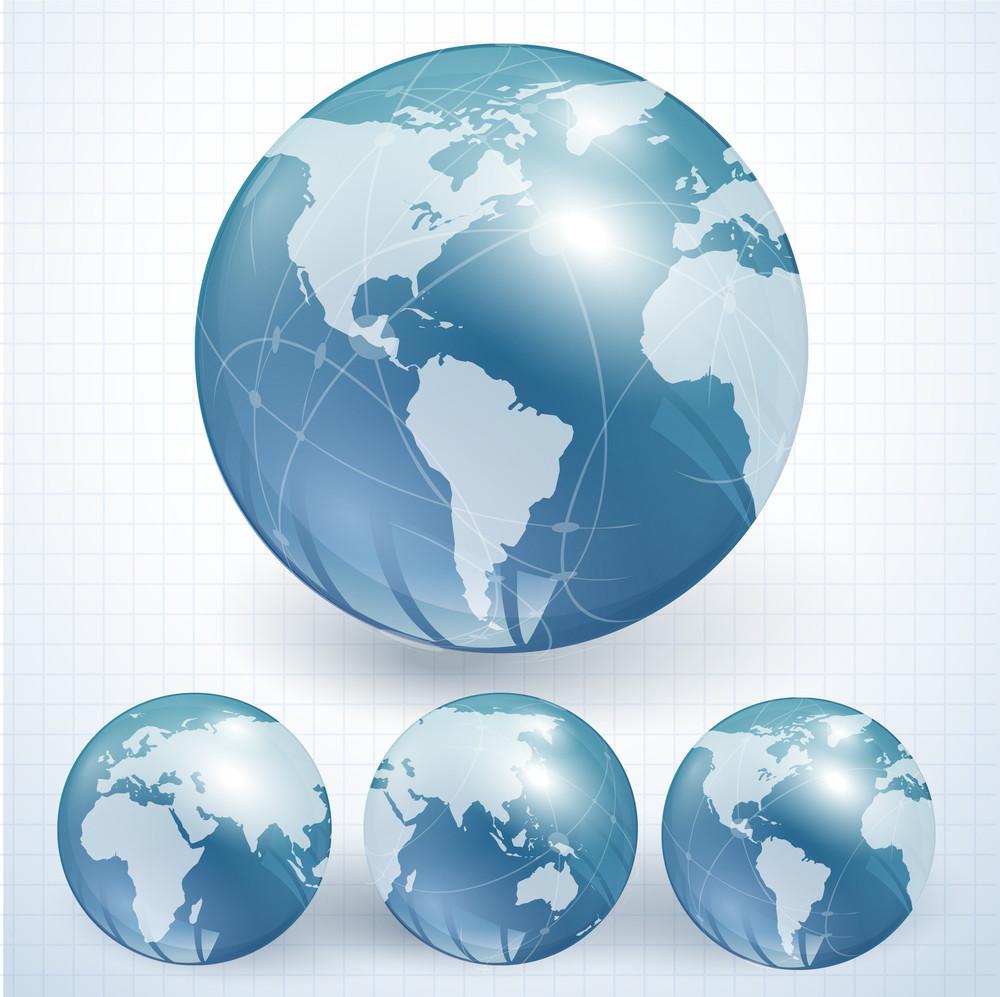 Blue Globes. Vector.
