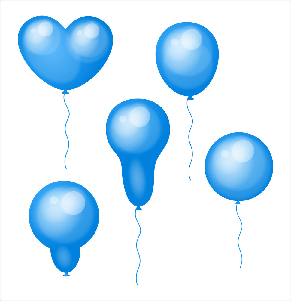 Blue Glossy Balloons Designs Set