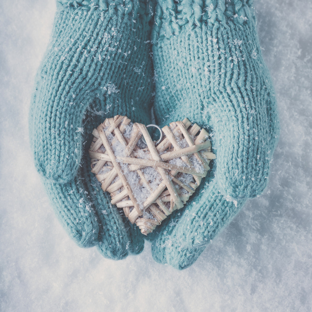 Blue gloved winter love