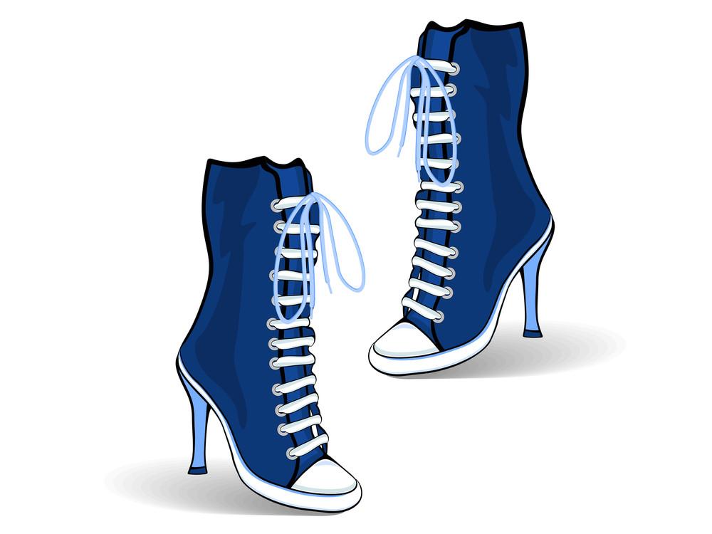 Blue High Heel Boots.