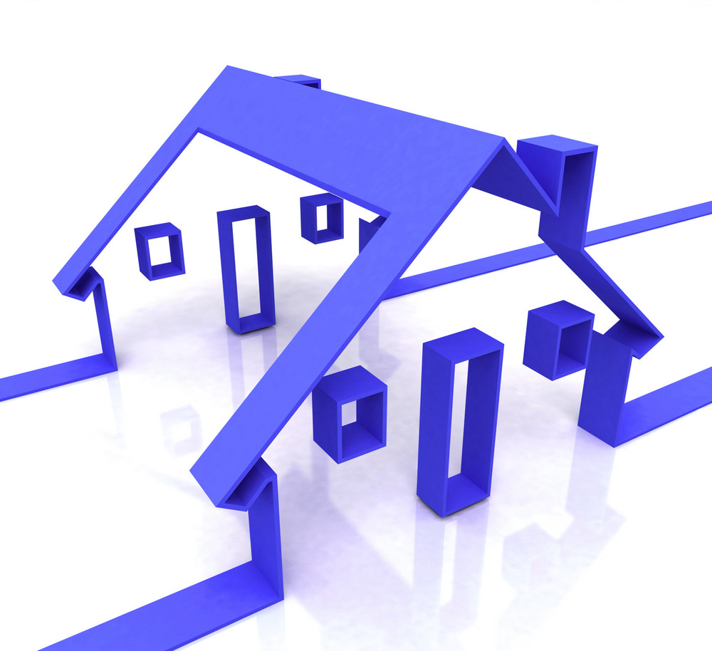Blue House Symbol Shows Real Estate Or Rentals