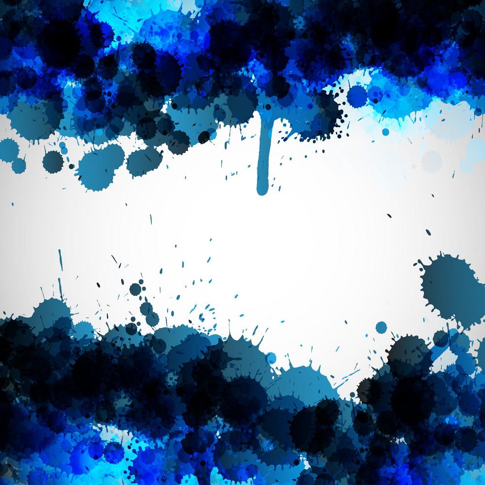 Blue Ink Blots Vector Background