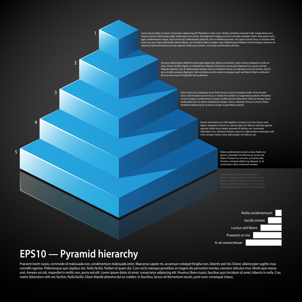 Blue Isometric Pyramid With Text On Each Level. Useful For Infographics