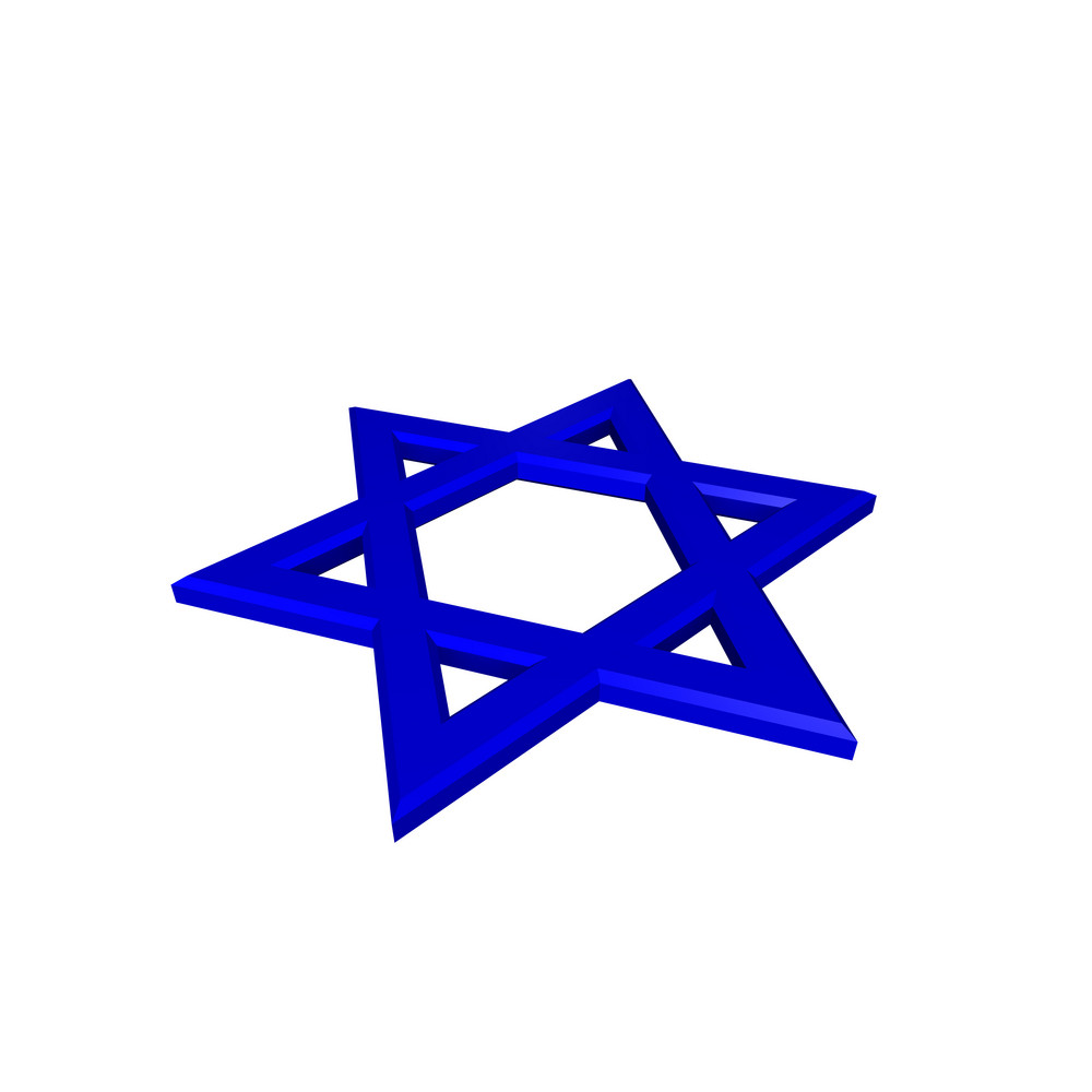 Blue Judaism Religious Symbol - Star Of David Isolated On White.