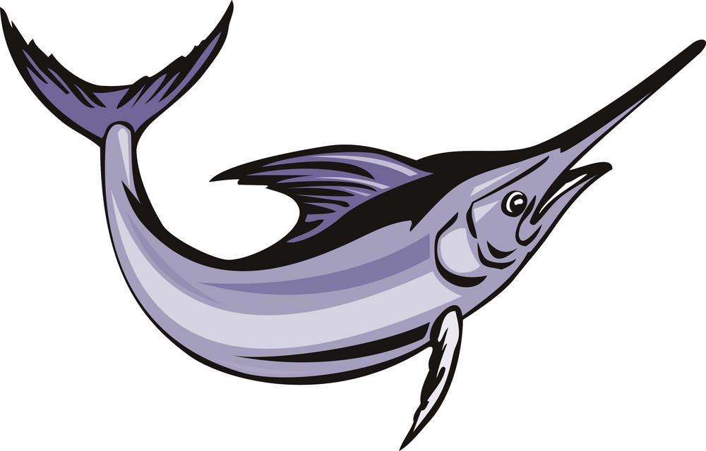 Blue Marlin Fish Jumping Retro