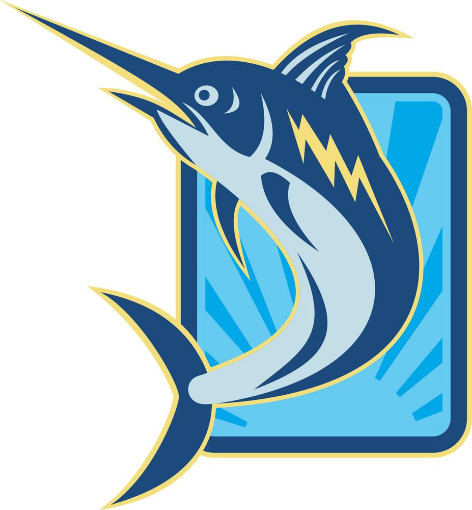 Blue Marlin Jumping Retro