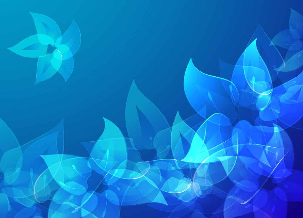 Blue Misty Flowers. Vector Background.