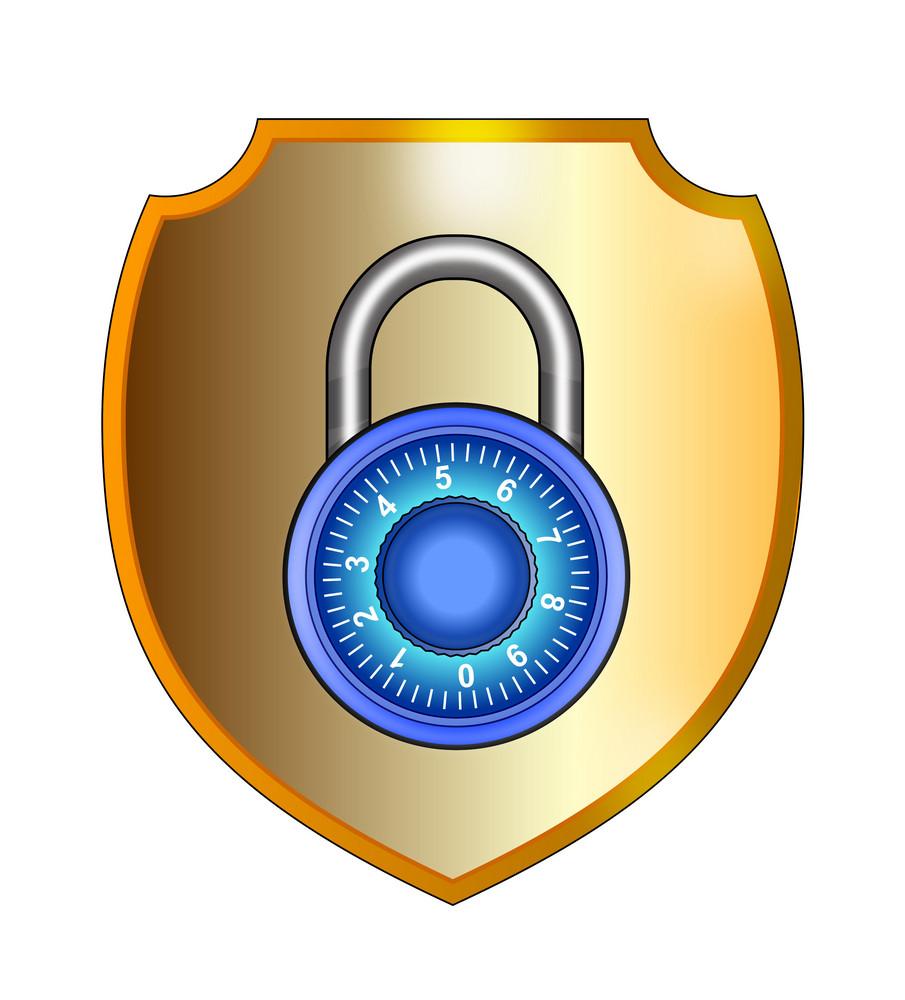 Blue Padlock In Gold Shield