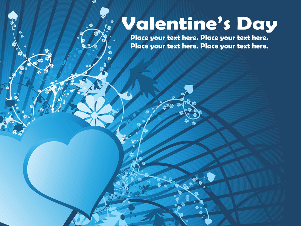 Blue Rays Background With Decorated Heart