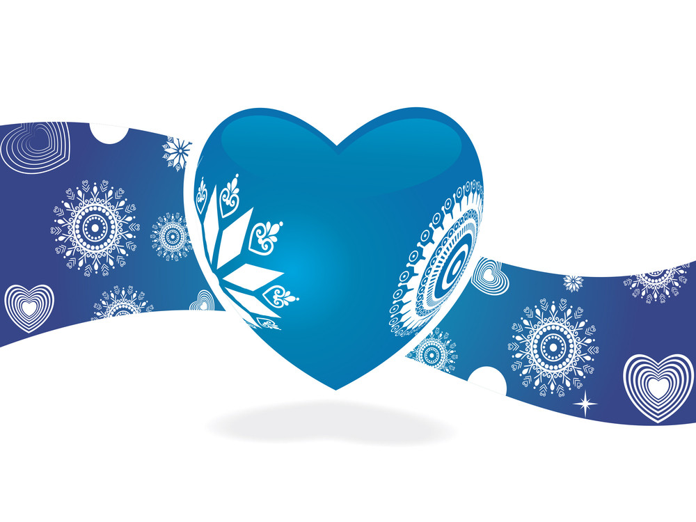 Blue Retro Heart For Sample Text