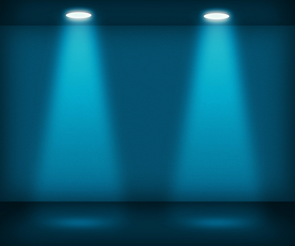 Blue Room With Two Spotlights