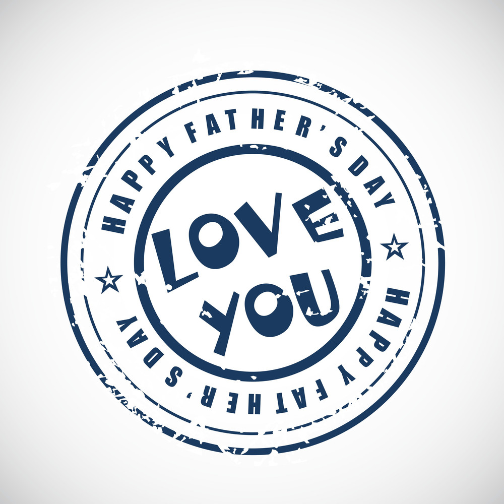 Blue Rubber Stamp For Happy Fathers Day