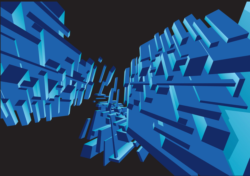 Blue Space Underwater Abstract. Vector.