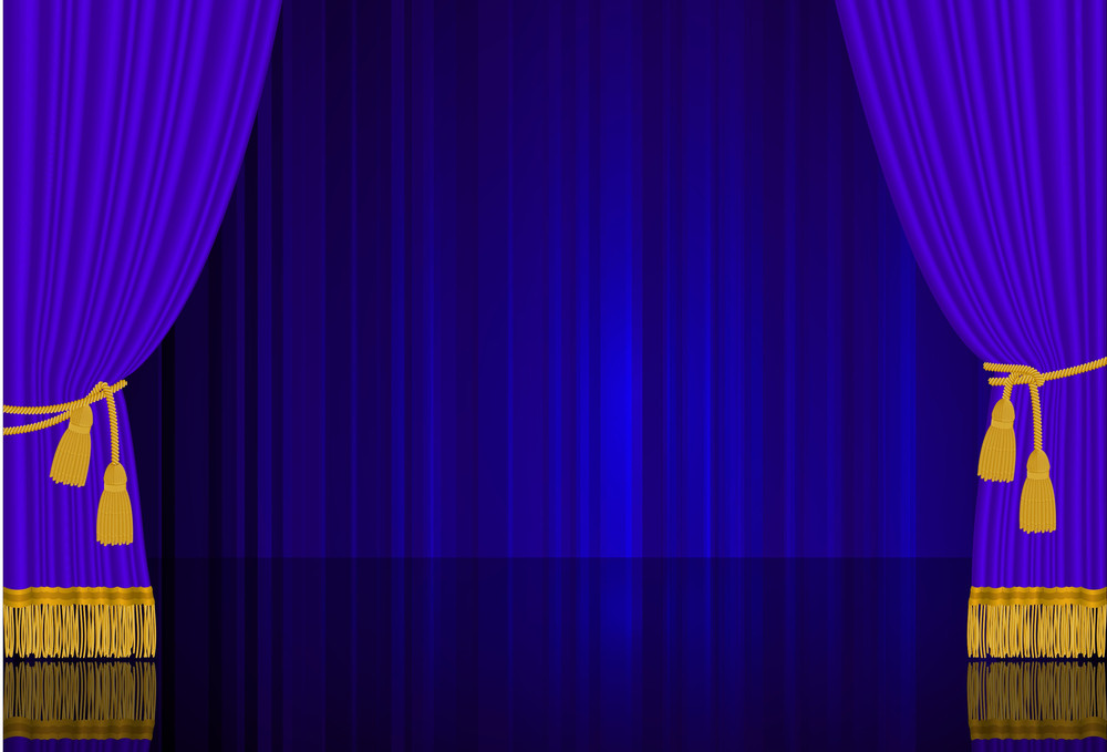 Blue Stage Curtain. Highly Realistic Vector Template.