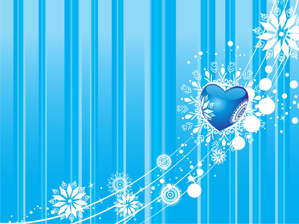 Blue Valentines Winter Vector Background