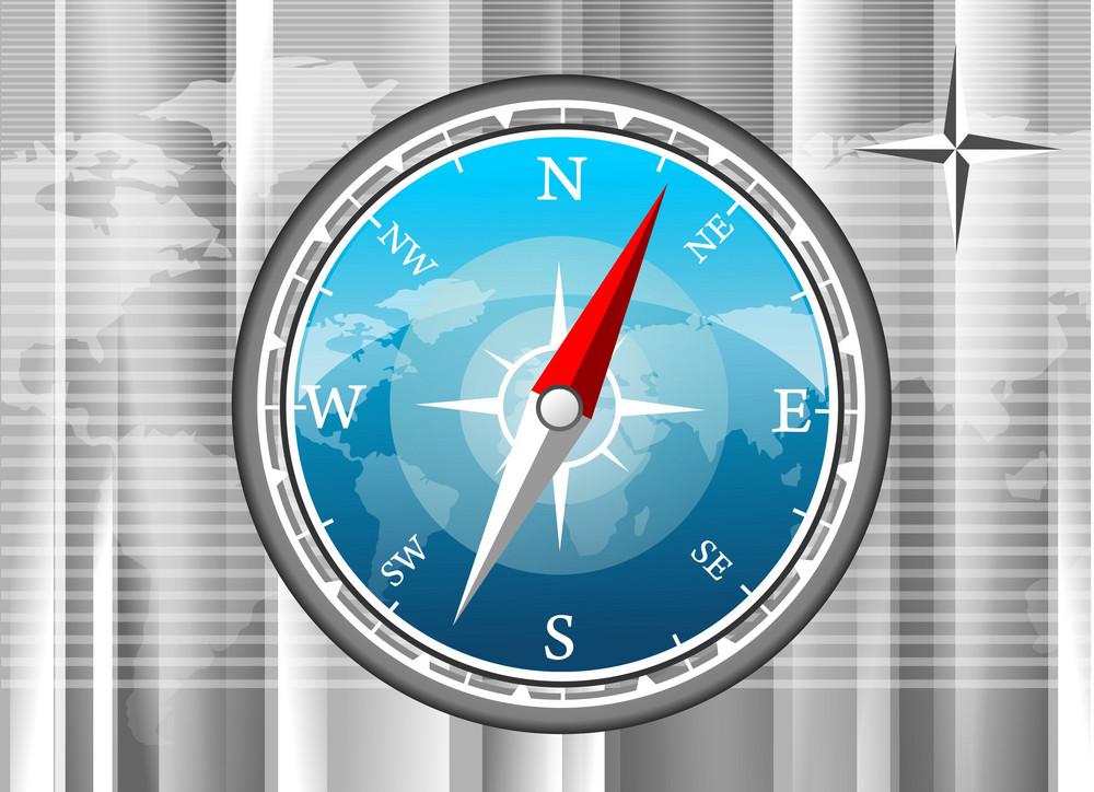 Blue Vector Compass