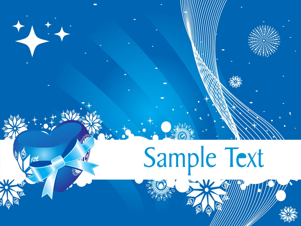 Blue Vector Heart Knoted With Ribbon And Snowflake