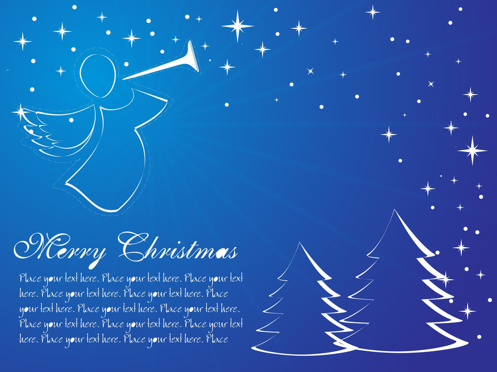 Blue Vector Of Christmas Tree And Stars