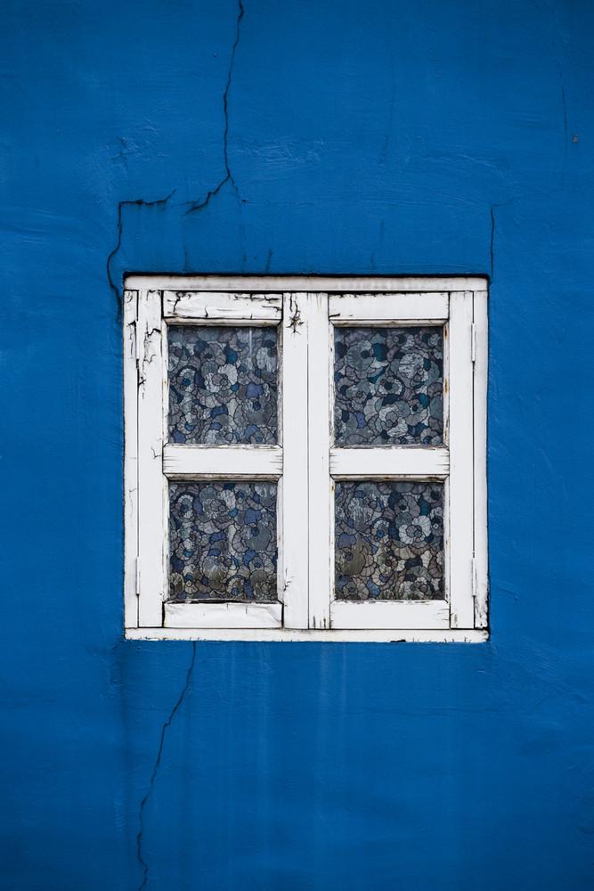 Blue wall with retro window