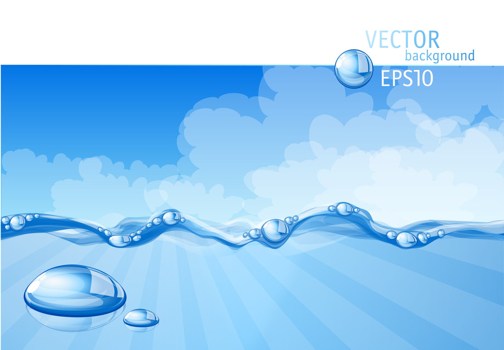 Blue Water Background. Vector.