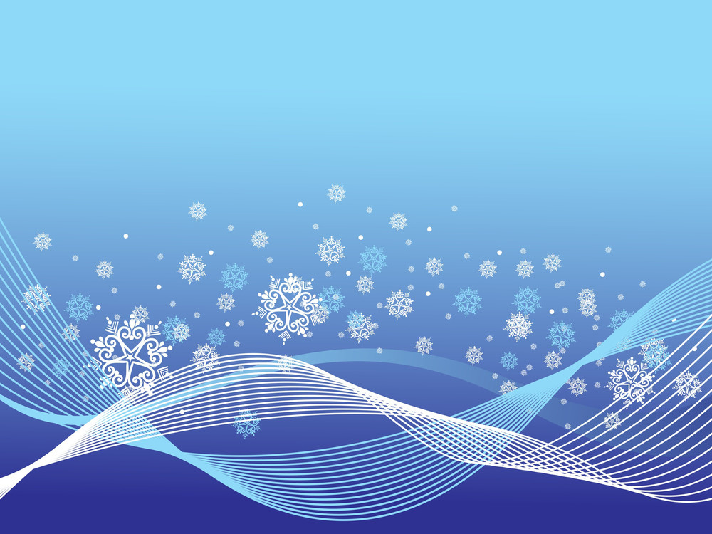 Blue Wave Background With Artistic Floral