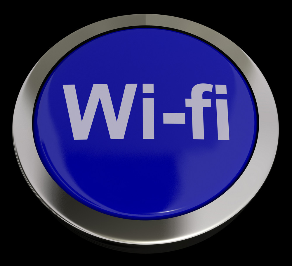Blue Wifi Button For Hotspot Or Internet Connection