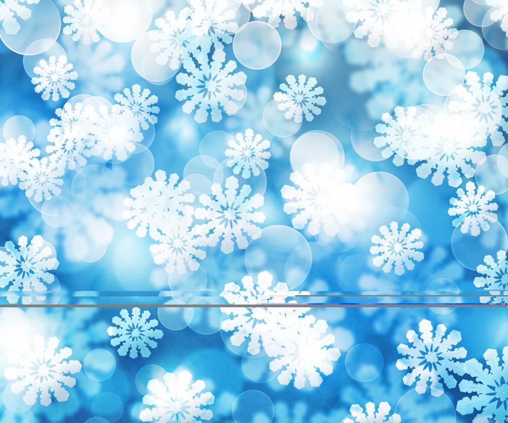Blue Winter Bokeh Background Texture