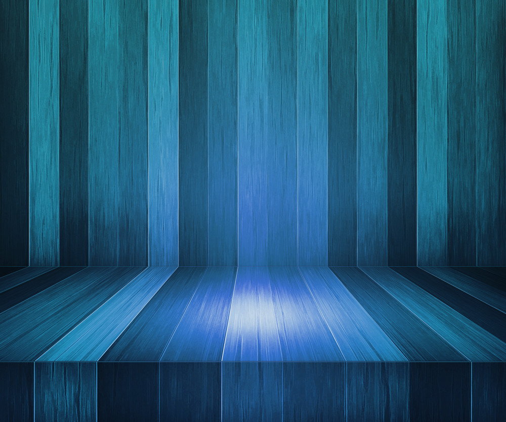 Blue Wooden Stage Background