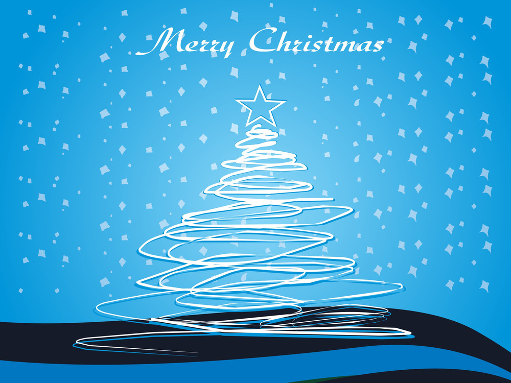 Blue Xmas Background With Isolated Tree