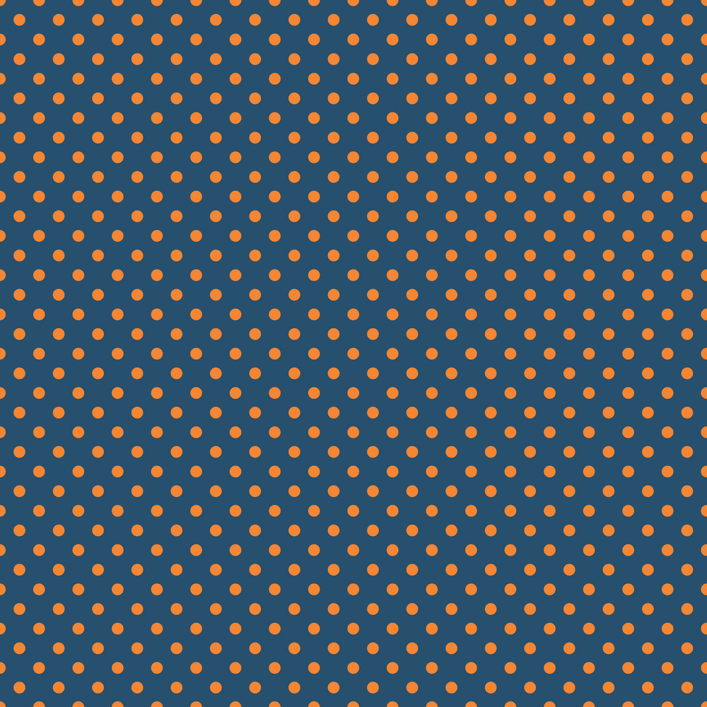 Pattern Of Orange Polka Dots On A Blue Background