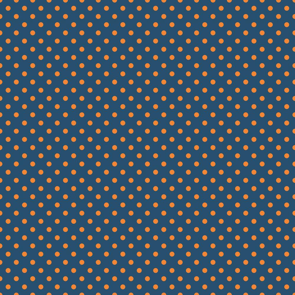 Pattern Of Orange Polka Dots On A Blue Background