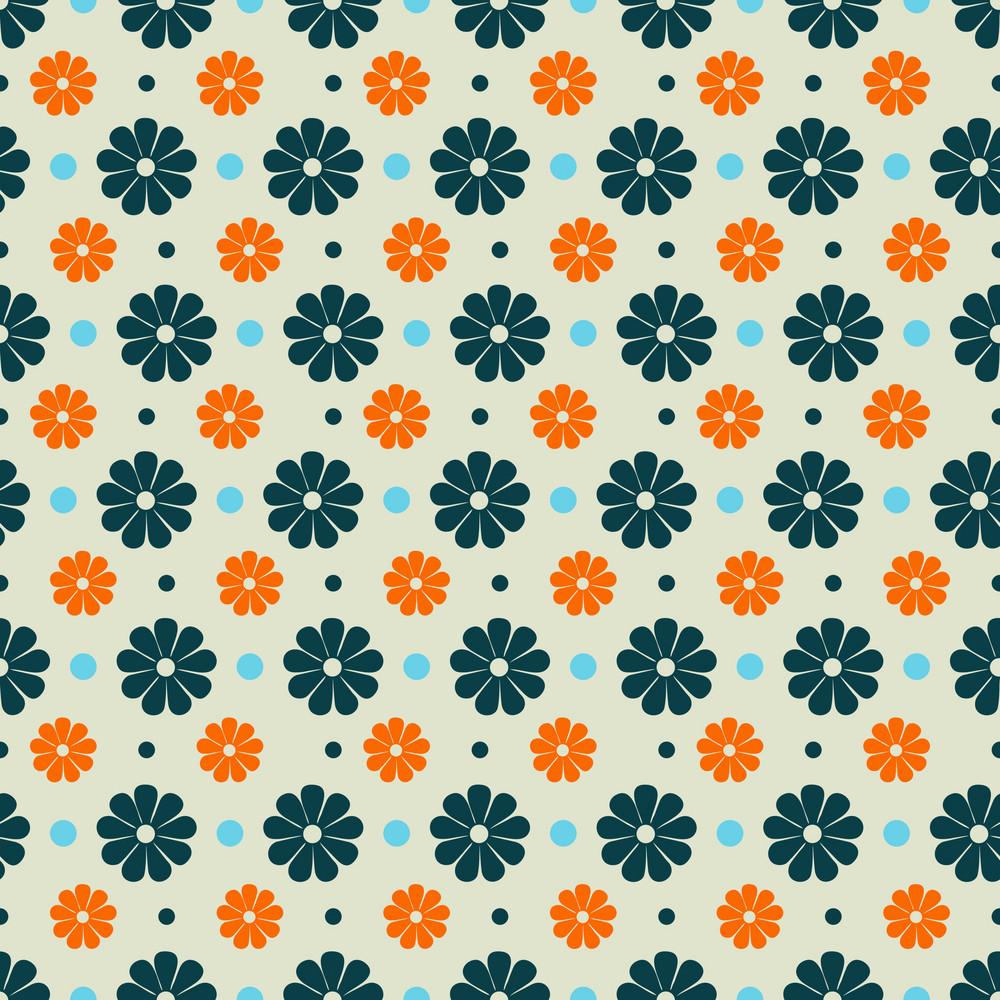 Blue And Orange Flower Pattern